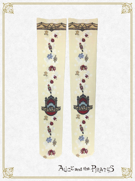 P12SC831 A Snowy Christmas Eve Mysterious Gift Over Knee Socks