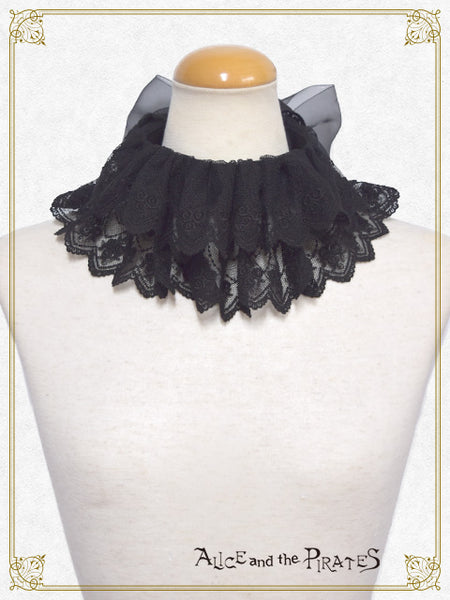 P13BL440 Black Cat in Love Moonlit Night Frill Blouse