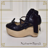 P13SH895 Ribbon Frill Wood Sole Shoes
