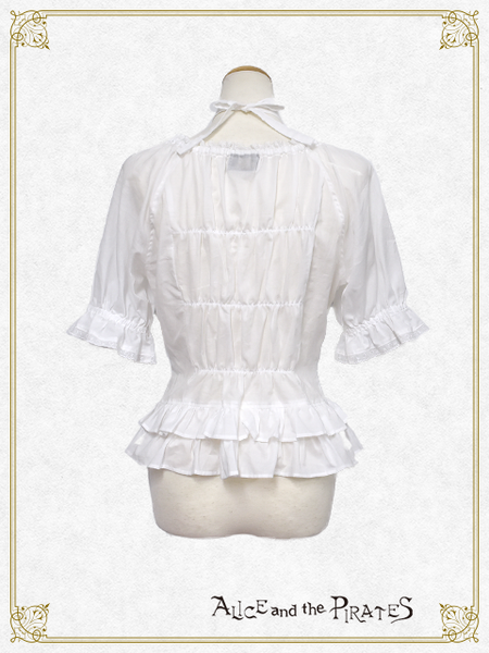P14BL418 Starry Lace Back Shirring Blouse