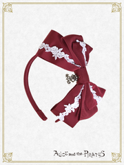P14HA914 A/P Rose Lace Grosgrain Headbow