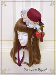 [RESERVATION] P15HA904 Berry and Cream Mini Hat