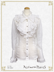 P16BL407 Diamonds Pattern Frill Blouse