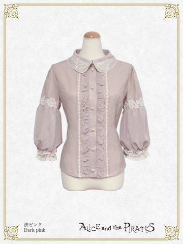 P16BL417 Flower Sleeve Pompadour Blouse