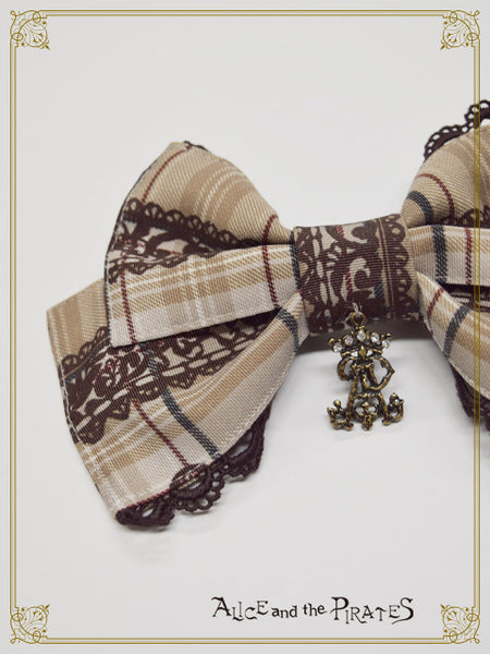 P16OH909 Alice's Cards Lace Tartan Check Ribbon Clip