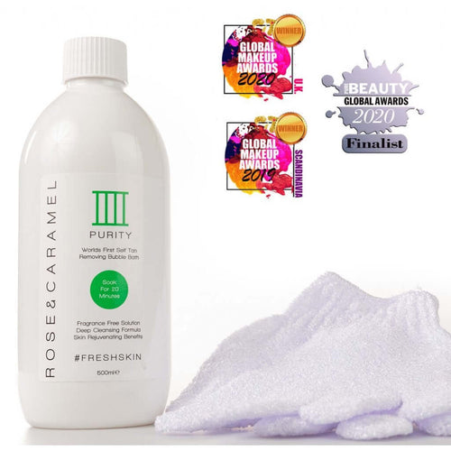 Rose and Caramel - Purity Bubble Bath Tan Remover & Gloves