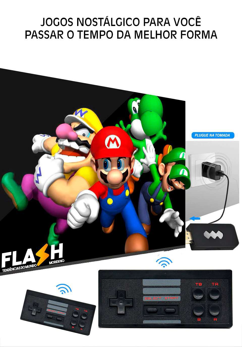 Mini Vídeo Game Retro PenDrive HDMI 568 Jogos 4k + 2 Controles - Loja Flash