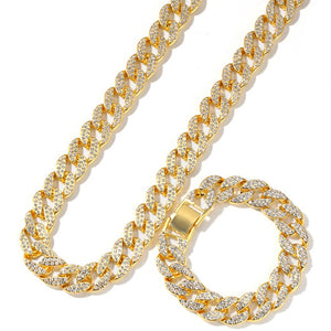 Hip Hop Men's Dainty Wild Cuban Chain Gold Silver Jewelry 15mm Miami Diamond Necklace Bracelet Set Zircon Ice Cube Cubic Gift