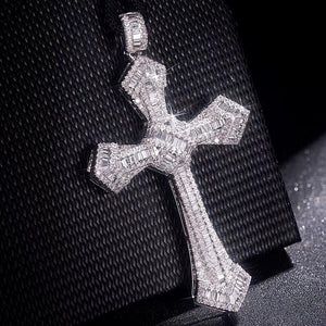 Luxurious Christianity Cross Pendants Diamond painting full 925 Sterling silver Wedding gemstone Necklace for Women Men Jewelry