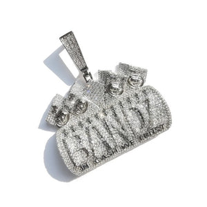 Iced Out Letters IN CASH WE TRUST Pendant Necklace For Men Women Micro Pave Zircon Necklaces Hip Hop Jewelry
