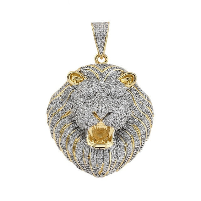 Bling Iced Out Necklace Micro Pave Cubic Zircon Lion Head Pendant for Men Women Gifts Luxury Hip Hop Jewelry