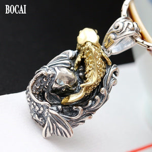 NEW S925 Sterling Silver man Pendant  Vintage Handmade annual fish pendant for man and woman