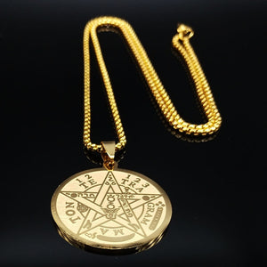 Witchcraft Pentagram Stainless Steel Chain Necklaces for Men Gold Color Necklaces Pendants Jewelry cadenas para hombre N1163S02