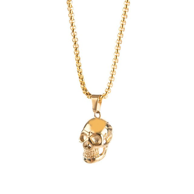 Punk Stainless Steel Chain Skull Pendant Necklace Vintage Gold Color Black Hip Hop Statement Necklaces Men Male Boho Jewelry