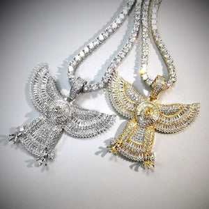 Bling Iced Out Eagle Pendant Necklace 2 Colors Geometric Zircon Mens Necklace Hip Hop Jewelry  For Men Women Gifts