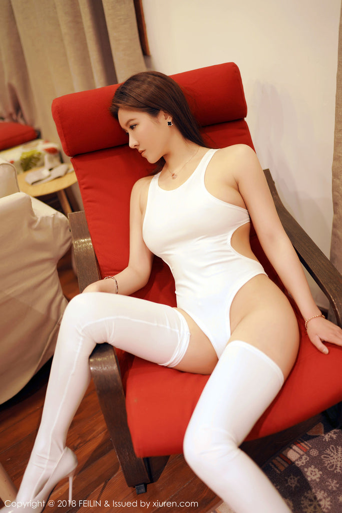 She Looks Amazing In Wet Look Bodysuit & Stockings