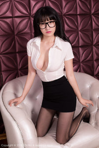 My Secretary Seducing Me In Tight Mini Skirt & Black Sheer Pantyhose