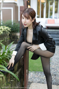 She likes to tease me wearing satin blazer & black sheer pantyhose