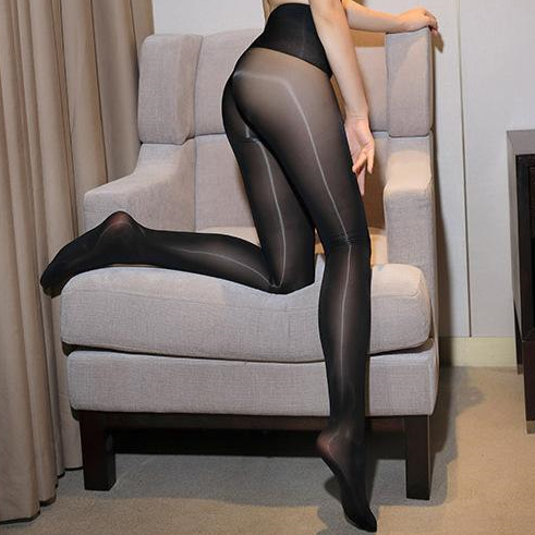 side view of  lady wearing black 8 denier sheer shiny pantyhose
