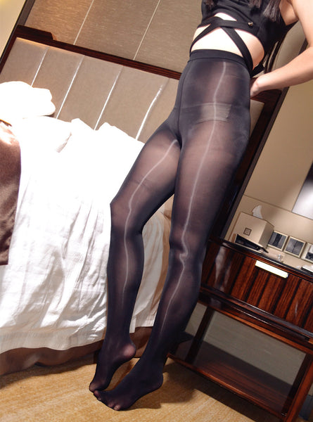 Black Glossy Oil Shine Pantyhose
