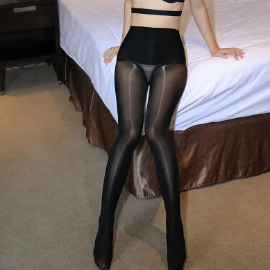 front view of lady wearing black glossy sheer 8 denier pantyhose