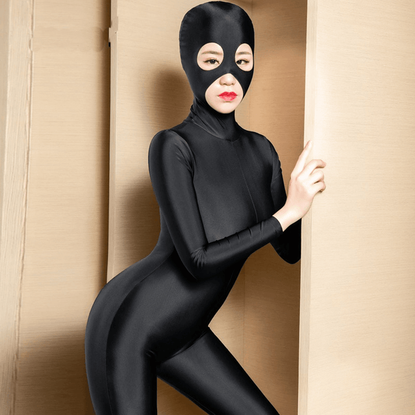 Black catsuit featuring a hooded mask for heighten pleasure, long sleeve, Zipper from hood to crotch, ankle length.