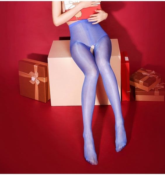 Blue Oil Shine Glossy Sheer 30 Denier Pantyhose