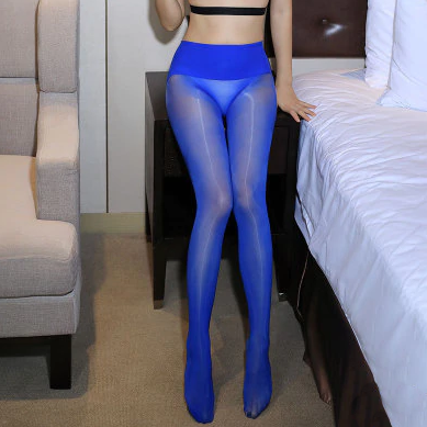front of lady wearing Blue 8 Denier Glossy Oil Shine Sheer Pantyhose
