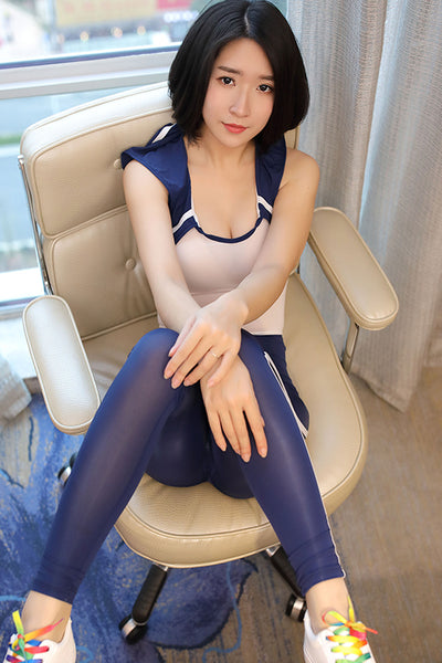 Blue Sexy One Piece Open Crotch School Girl Roleplay Uniform Bodysuit