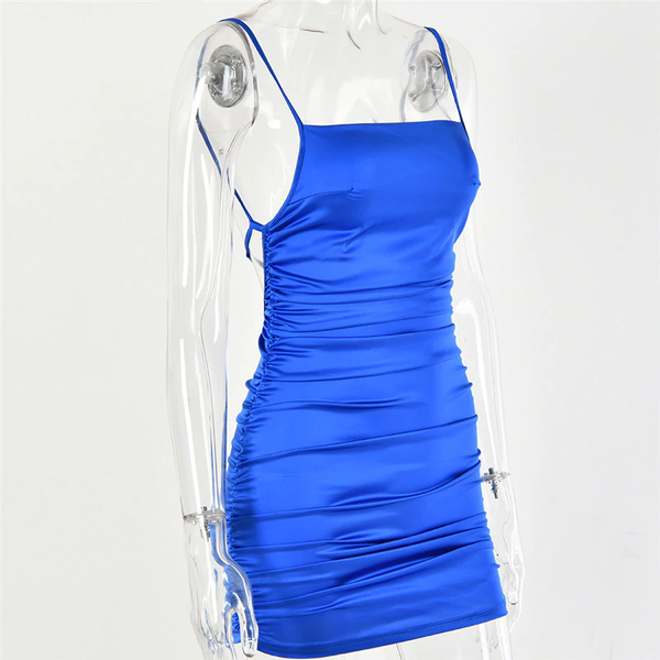 Blue satin mini dress featuring spaghetti straps, adjustable back straps, square neck line, open side panel and a low cut back.