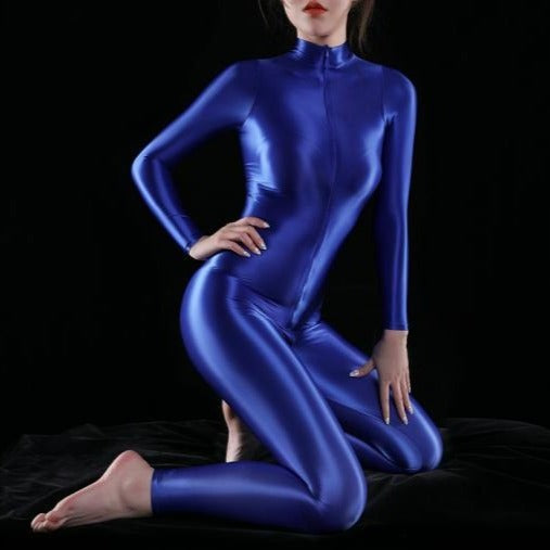 blue shiny bodysuit featuring a front zipper closure, long sleeves, and a high neckline.