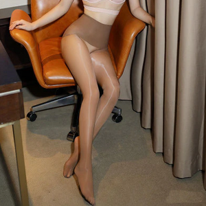 front view of lady wearing Coffee 8 Denier Glossy Oil Shine Sheer Pantyhose