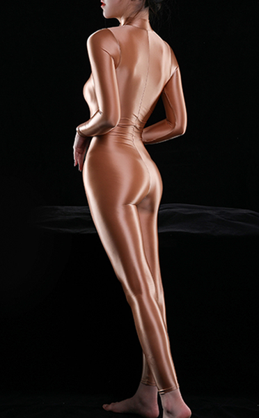 coffee shiny bodysuit featuring a front zipper closure, long sleeves, and a high neckline.