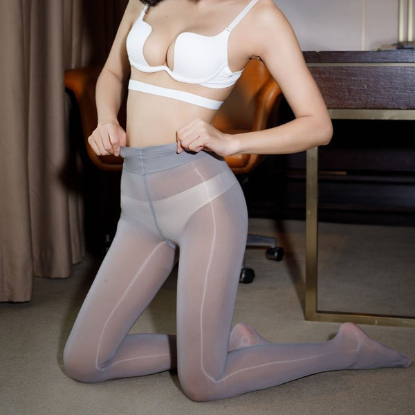 front view of lady wearing grey Sheer 8 Denier Shiny Pantyhose with white bra and panty
