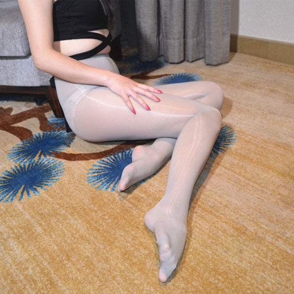 Gray Glossy Oil Shine Pantyhose