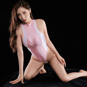pink wet look bodysuit featuring a high neckline, back zipper closure, high cut sides and a thong cut back.