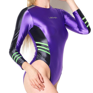 Purple wet look Leotard body hugging yet stretchable, featuring long sleeves, scoop neckline and a cheeky cut back.