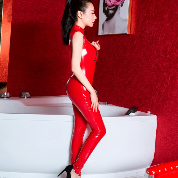 Red Turn Me On Wet Look Latex Zipper Bodysuit