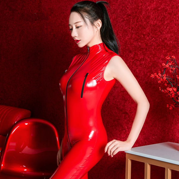Red wet look bodysuit featuring a high collar, front to crotch zip closure, ankle length.