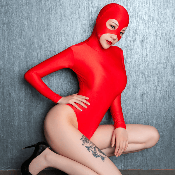 Red Masked Long Sleeve Wet Look One Piece Bodysuit