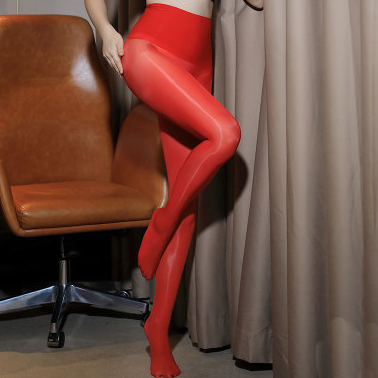 front view of lady wearing red 8 Denier Glossy Oil Shine Sheer Pantyhose