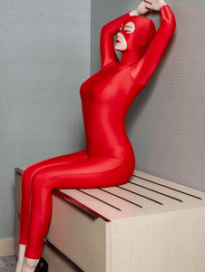 Red Shiny Masked Open Crotch Fetish Bodysuit