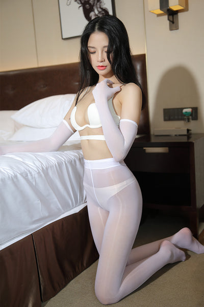 White sheer seamless gloves featuring pull on style, individual finger closure.