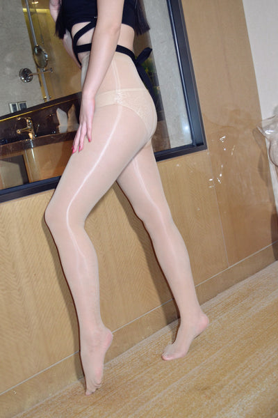 White Glossy Oil Shine Pantyhose