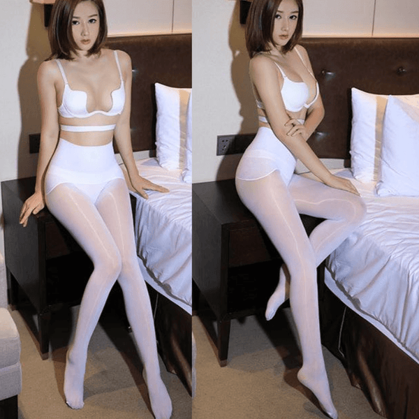 front view of lady wearing White 8 Denier Glossy Oil Shine Sheer Pantyhose