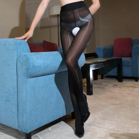 front view of lady wearing black shiny open crotch pantyhose