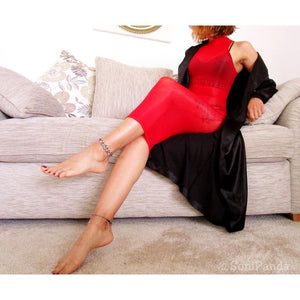 8 Denier Red Oil Shine Glossy Sheer Bodystocking Dress