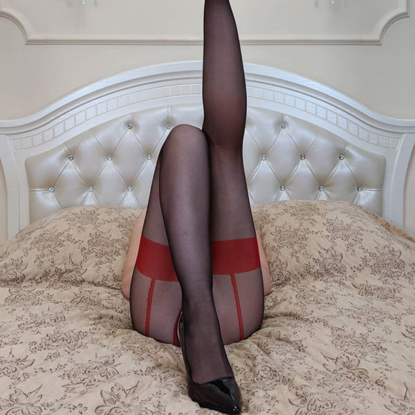 back bottom view of lady wearing red sexy sheer pantyhose featuring an open crotch, thigh high silhouette, and comfortable waistband with black shiny high heel
