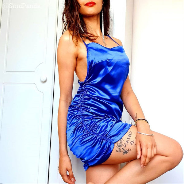 front view of sonipanda wearing a blue color satin blue mini party dress