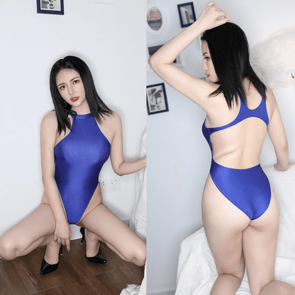 front and back view of lady wearing a blue color wet look bodysuit featuring a high neck, large back keyhole, high cut sides and a cheeky cut back.